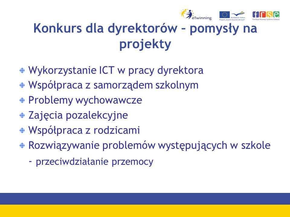 Konkurs dla dyrektorów – pomysły na projekty Wykorzystanie ICT w pracy dyrektora Współpraca z samorządem szkolnym Problemy wychowawcze Zajęcia pozalekcyjne Współpraca z rodzicami Rozwiązywanie problemów występujących w szkole - przeciwdziałanie przemocy