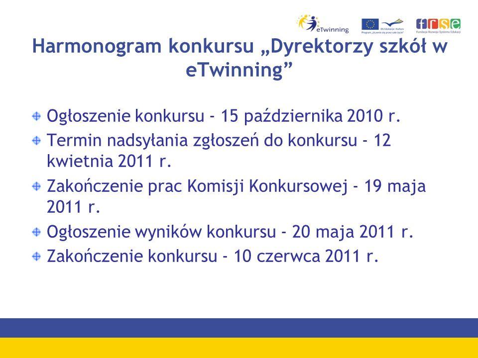 Harmonogram konkursu Dyrektorzy szkół w eTwinning Ogłoszenie konkursu - 15 października 2010 r.