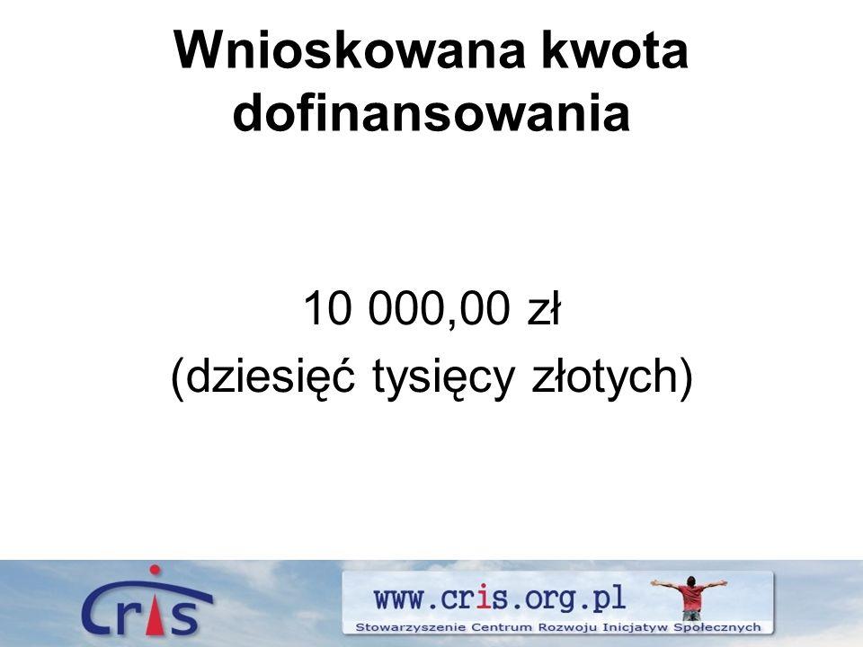 Wnioskowana kwota dofinansowania 10 000,00 zł (dziesięć tysięcy złotych)