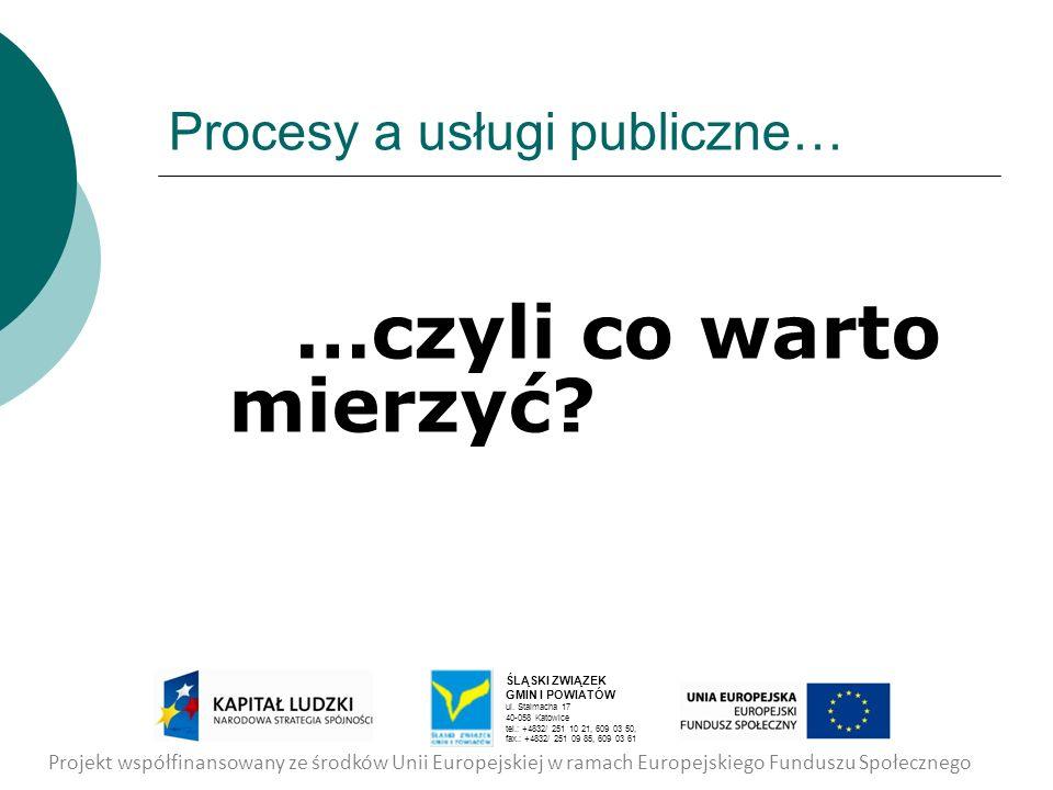 Procesy a usługi publiczne… …czyli co warto mierzyć? Projekt współfinansowany ze środków Unii Europejskiej w ramach Europejskiego Funduszu Społecznego