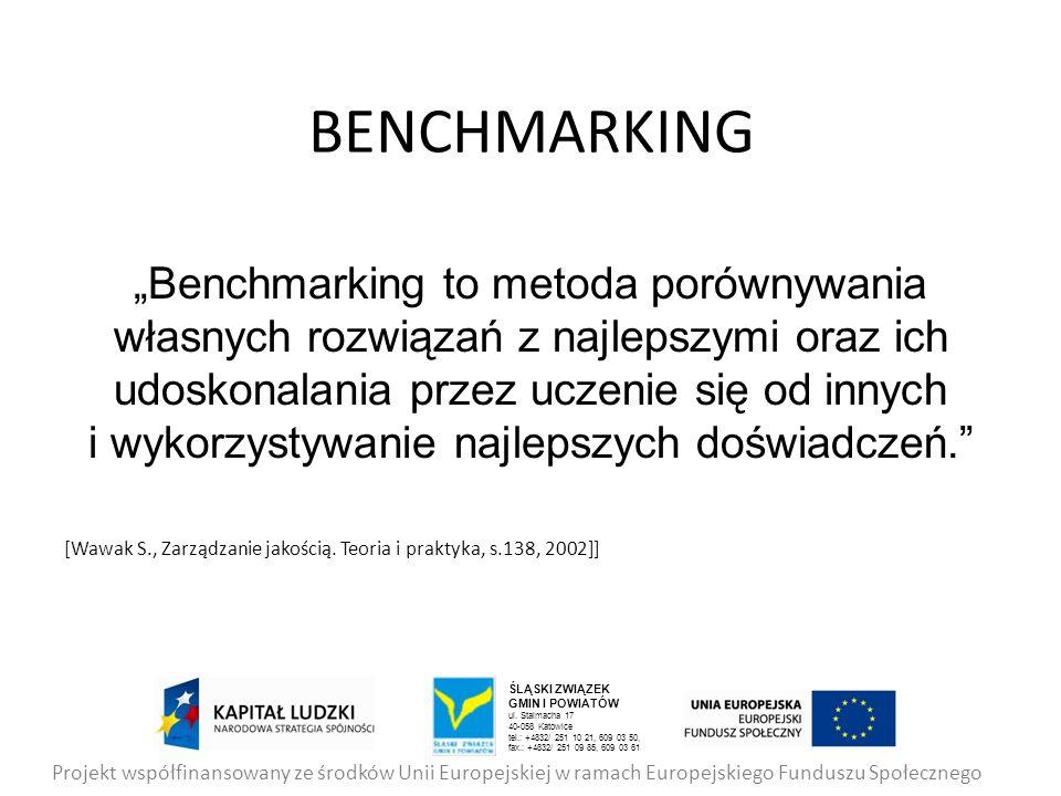 BENCHMARKING Benchmarking to metoda porównywania własnych rozwiązań z najlepszymi oraz ich udoskonalania przez uczenie się od innych i wykorzystywanie