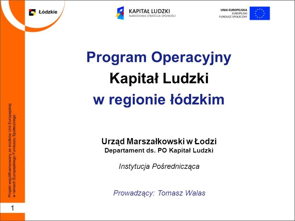 1 Program Operacyjny Kapitał Ludzki w regionie łódzkim Urząd Marszałkowski w Łodzi Departament ds.
