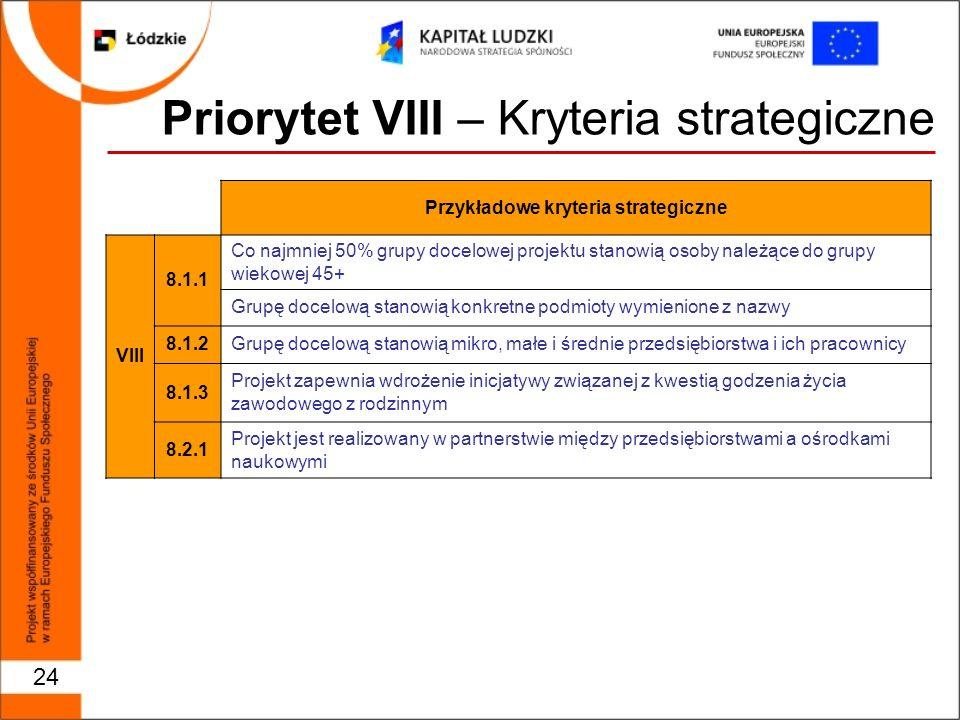 Priorytet VIII – Kryteria strategiczne 24 Przykładowe kryteria strategiczne VIII 8.1.1 Co najmniej 50% grupy docelowej projektu stanowią osoby należące do grupy wiekowej 45+ Grupę docelową stanowią konkretne podmioty wymienione z nazwy 8.1.2Grupę docelową stanowią mikro, małe i średnie przedsiębiorstwa i ich pracownicy 8.1.3 Projekt zapewnia wdrożenie inicjatywy związanej z kwestią godzenia życia zawodowego z rodzinnym 8.2.1 Projekt jest realizowany w partnerstwie między przedsiębiorstwami a ośrodkami naukowymi