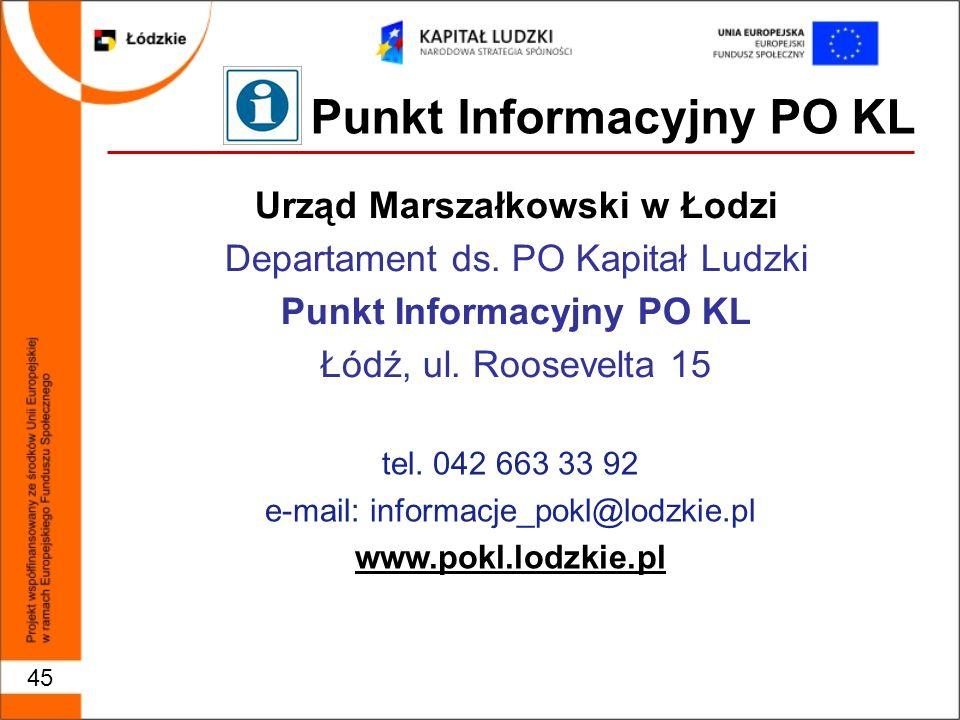 45 Punkt Informacyjny PO KL Urząd Marszałkowski w Łodzi Departament ds.