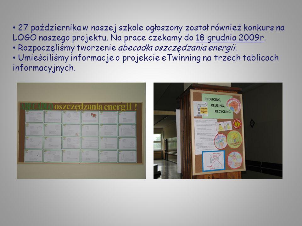 27 października w naszej szkole ogłoszony został również konkurs na LOGO naszego projektu. Na prace czekamy do 18 grudnia 2009r. Rozpoczęliśmy tworzen