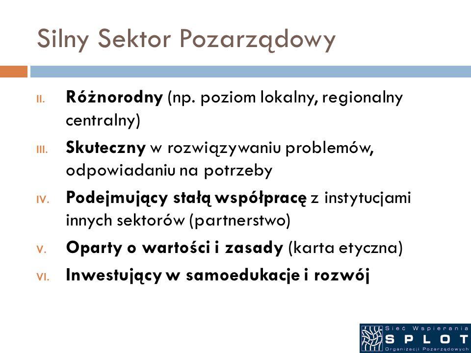 Silny Sektor Pozarządowy II. Różnorodny (np. poziom lokalny, regionalny centralny) III. Skuteczny w rozwiązywaniu problemów, odpowiadaniu na potrzeby