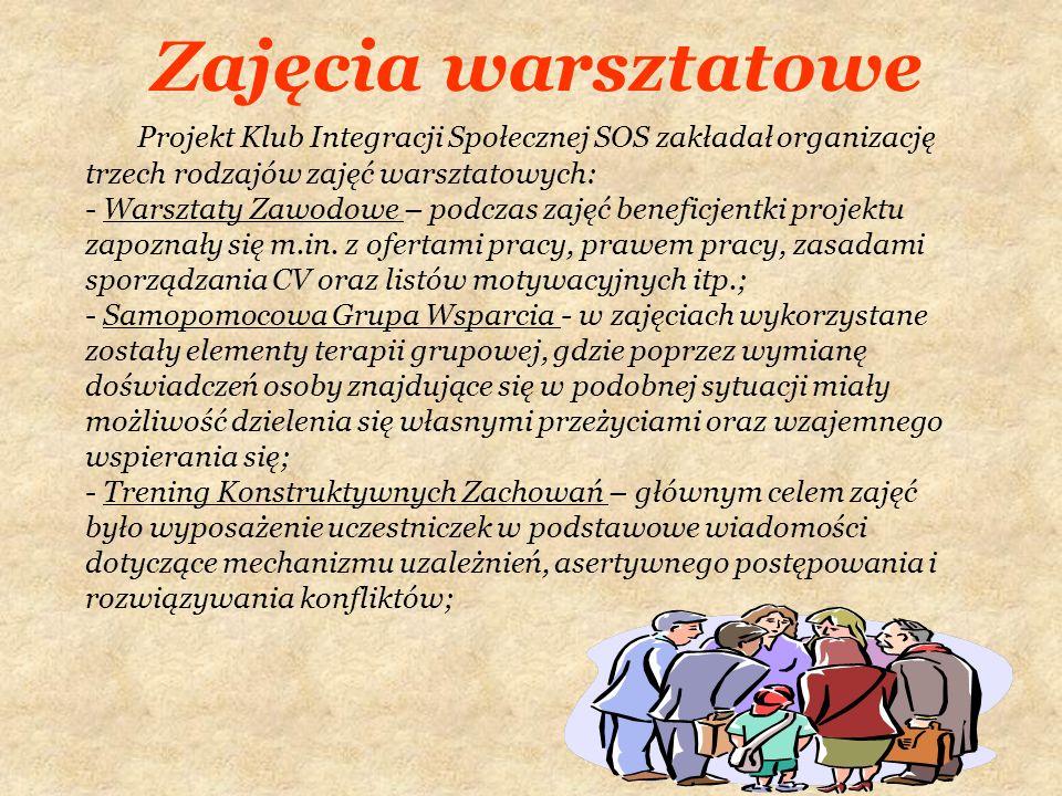 Zajęcia warsztatowe Projekt Klub Integracji Społecznej SOS zakładał organizację trzech rodzajów zajęć warsztatowych: - Warsztaty Zawodowe – podczas za