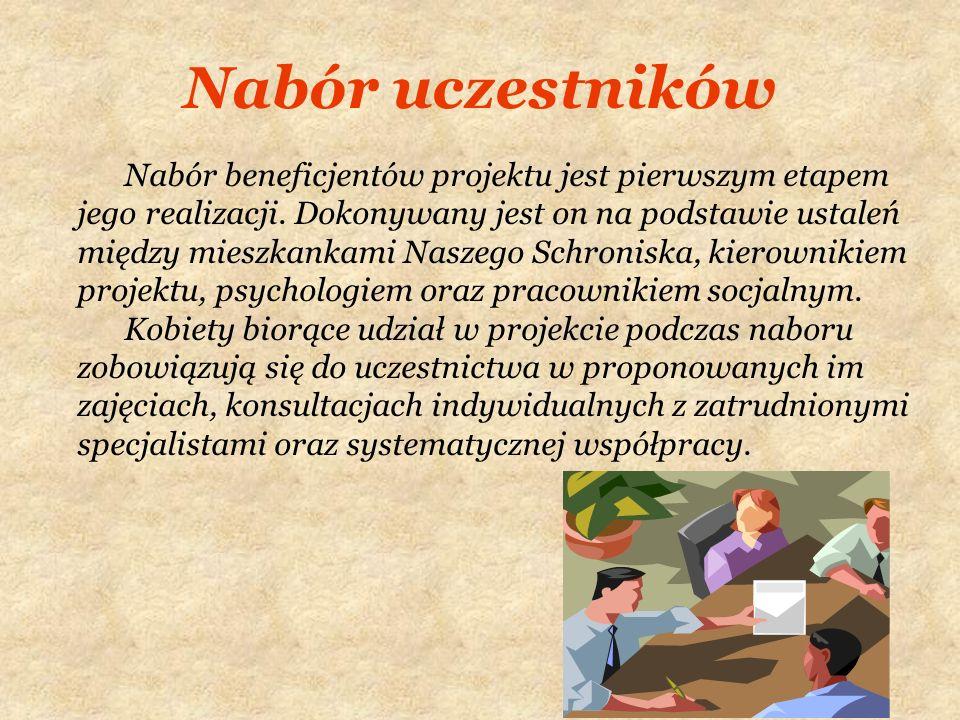 Nabór uczestników Nabór beneficjentów projektu jest pierwszym etapem jego realizacji. Dokonywany jest on na podstawie ustaleń między mieszkankami Nasz