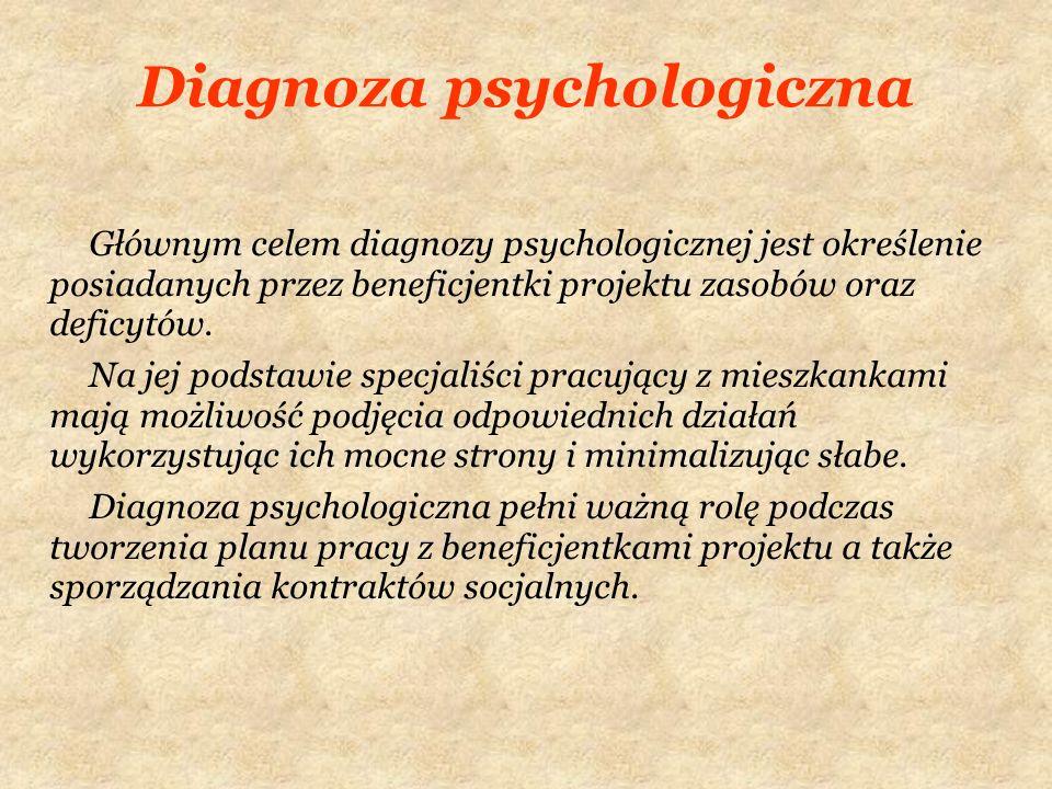 Diagnoza psychologiczna Głównym celem diagnozy psychologicznej jest określenie posiadanych przez beneficjentki projektu zasobów oraz deficytów. Na jej
