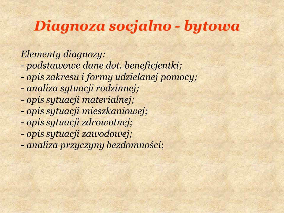 Diagnoza socjalno - bytowa Elementy diagnozy: - podstawowe dane dot. beneficjentki; - opis zakresu i formy udzielanej pomocy; - analiza sytuacji rodzi
