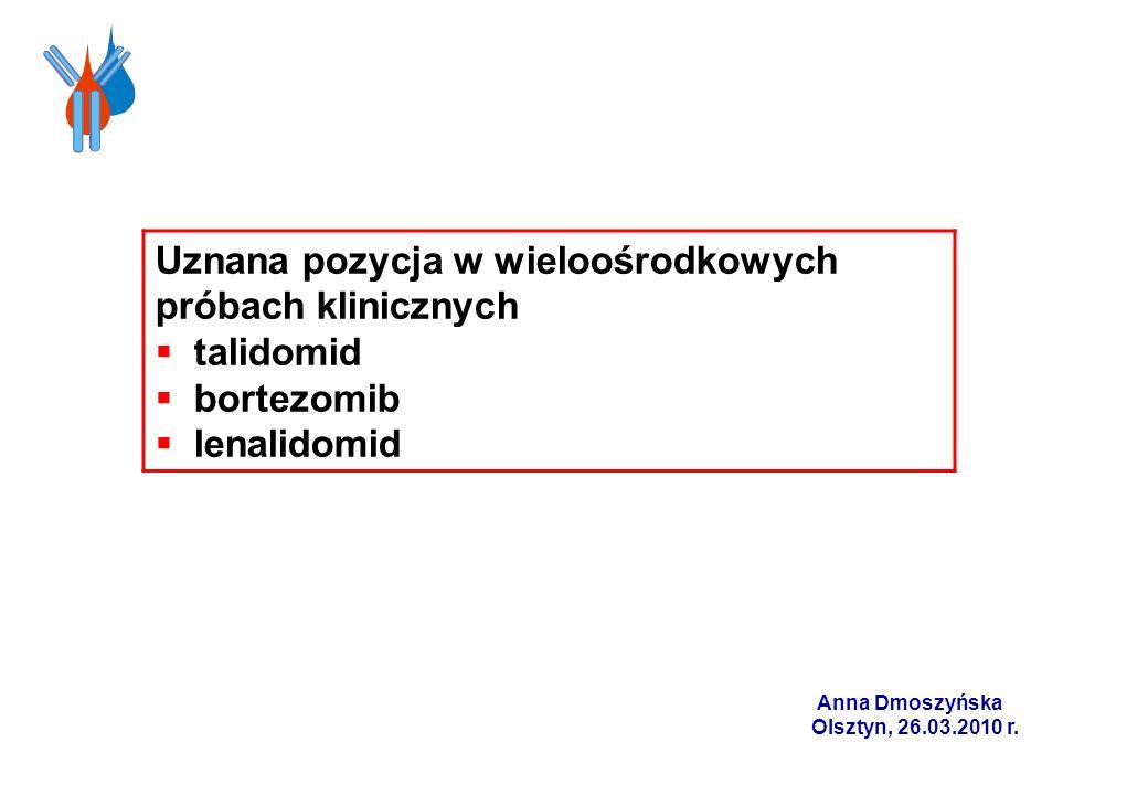 Uznana pozycja w wieloośrodkowych próbach klinicznych talidomid bortezomib lenalidomid Anna Dmoszyńska Olsztyn, 26.03.2010 r.