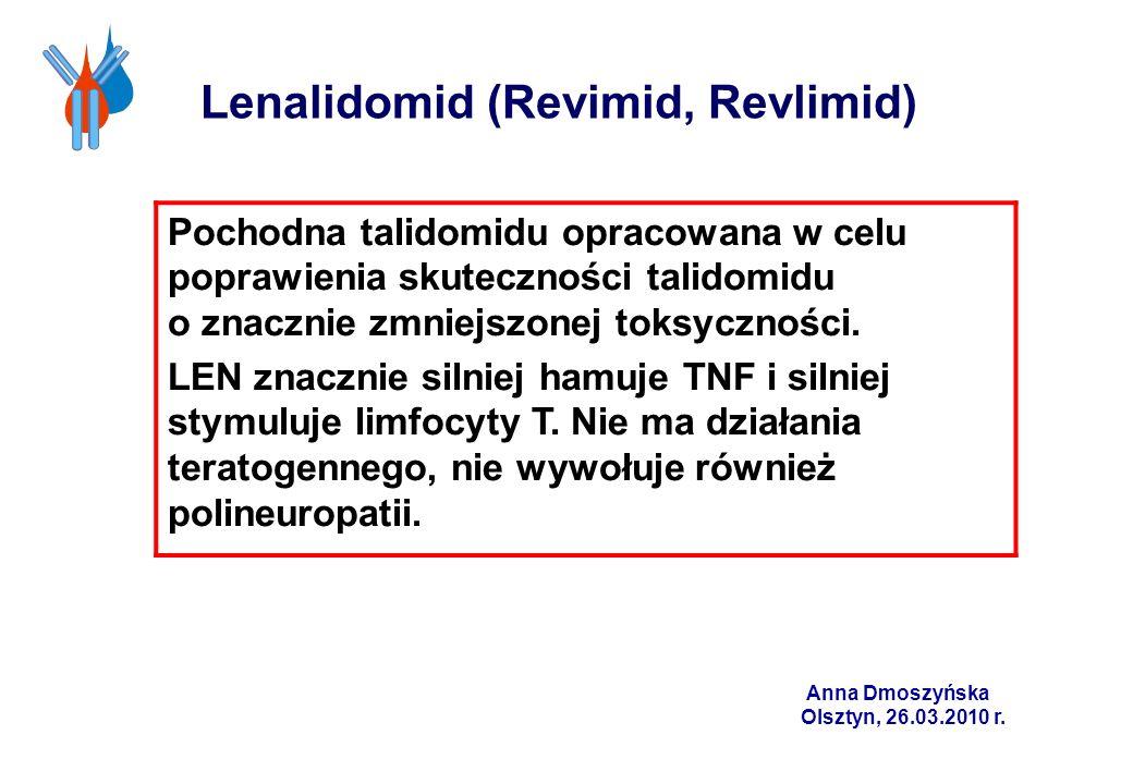 Lenalidomid (Revimid, Revlimid) Pochodna talidomidu opracowana w celu poprawienia skuteczności talidomidu o znacznie zmniejszonej toksyczności. LEN zn