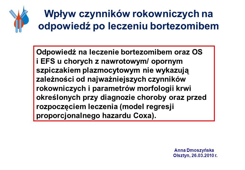 Odpowiedź na leczenie bortezomibem oraz OS i EFS u chorych z nawrotowym/ opornym szpiczakiem plazmocytowym nie wykazują zależności od najważniejszych
