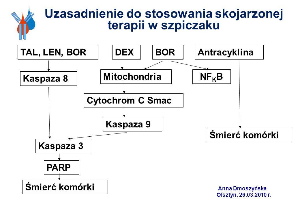 Uzasadnienie do stosowania skojarzonej terapii w szpiczaku TAL, LEN, BORDEXBORAntracyklina Kaspaza 8 MitochondriaNF K B Cytochrom C Smac Kaspaza 9 Śmi