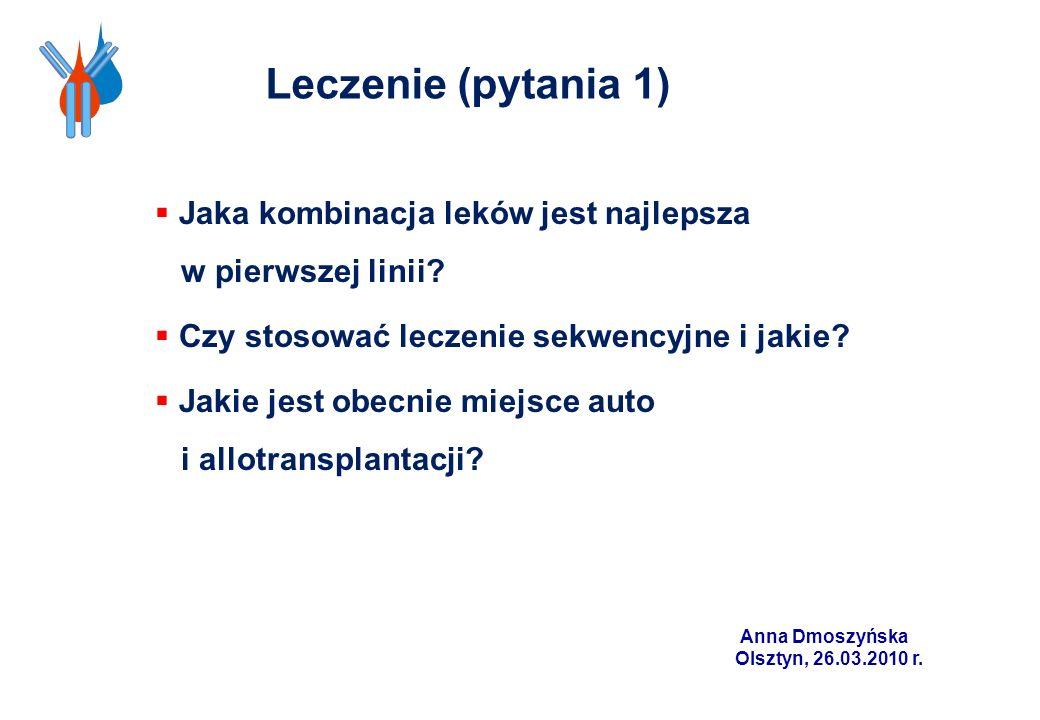 Anna Dmoszyńska Olsztyn, 26.03.2010 r. Jaka kombinacja leków jest najlepsza w pierwszej linii? Czy stosować leczenie sekwencyjne i jakie? Jakie jest o