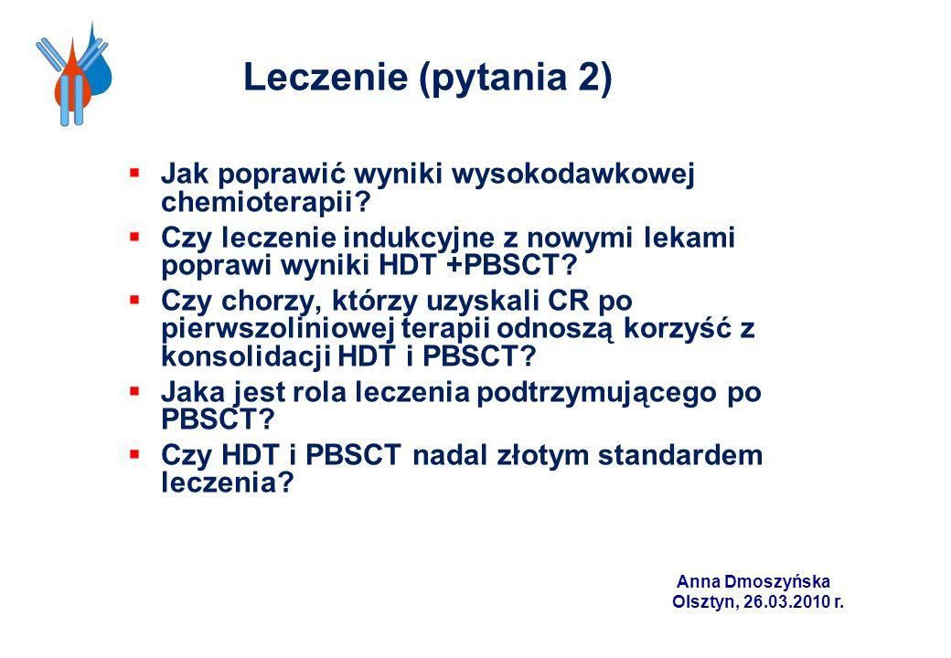 Anna Dmoszyńska Olsztyn, 26.03.2010 r. Leczenie (pytania 2) Jak poprawić wyniki wysokodawkowej chemioterapii? Czy leczenie indukcyjne z nowymi lekami