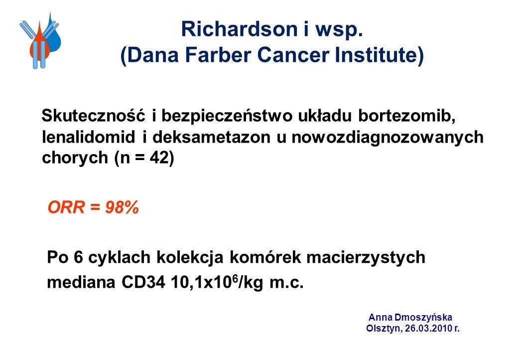 Richardson i wsp. (Dana Farber Cancer Institute) Skuteczność i bezpieczeństwo układu bortezomib, lenalidomid i deksametazon u nowozdiagnozowanych chor