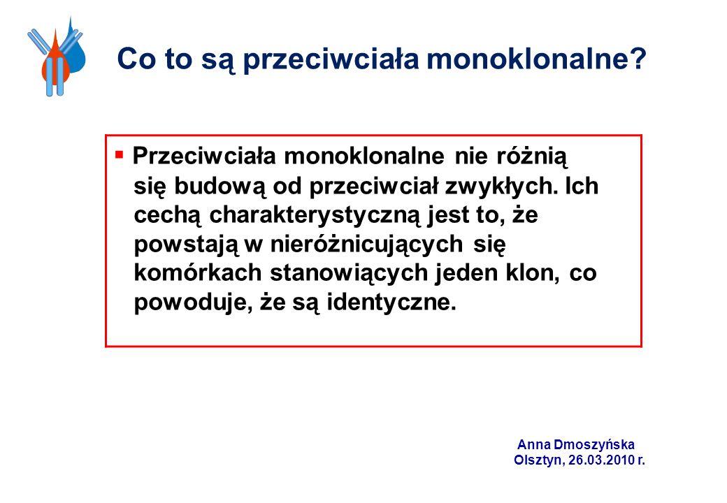 Co to są przeciwciała monoklonalne? Przeciwciała monoklonalne nie różnią się budową od przeciwciał zwykłych. Ich cechą charakterystyczną jest to, że p
