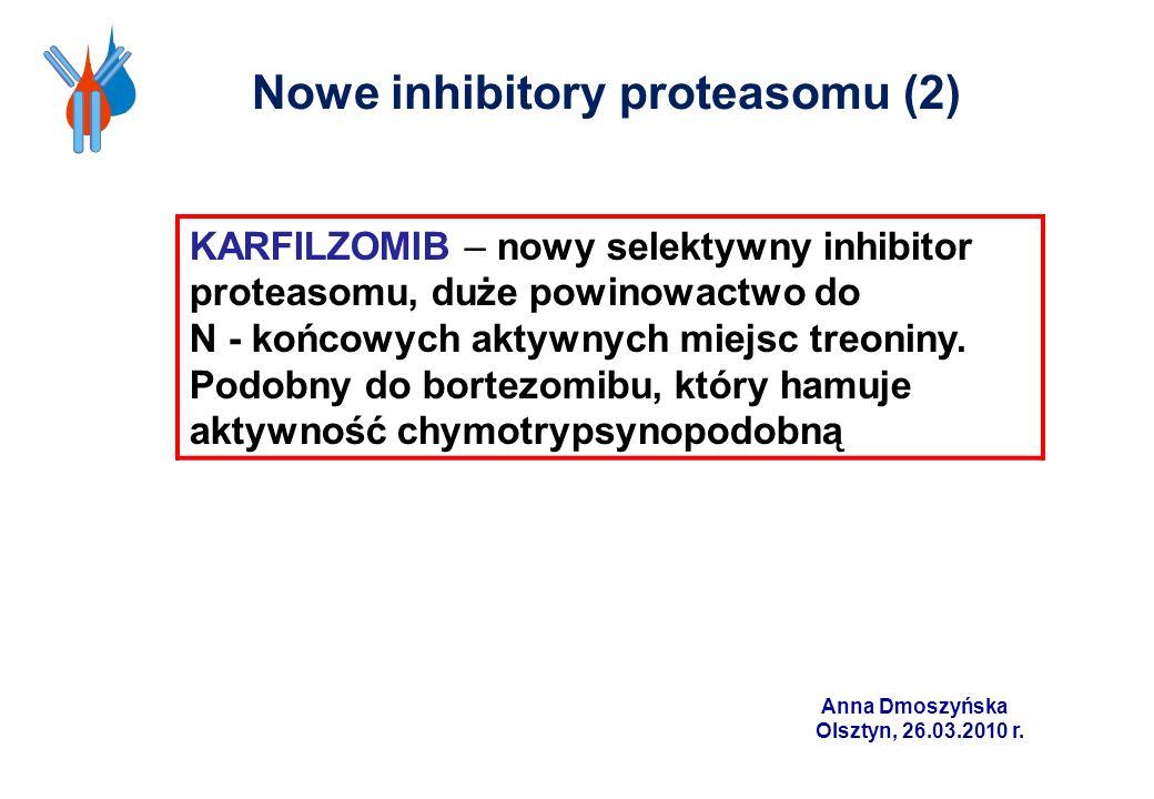KARFILZOMIB – nowy selektywny inhibitor proteasomu, duże powinowactwo do N - końcowych aktywnych miejsc treoniny. Podobny do bortezomibu, który hamuje