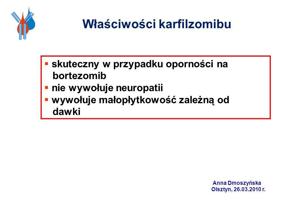 skuteczny w przypadku oporności na bortezomib nie wywołuje neuropatii wywołuje małopłytkowość zależną od dawki Właściwości karfilzomibu Anna Dmoszyńsk
