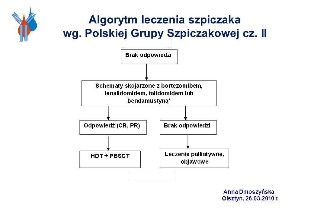 Algorytm leczenia szpiczaka wg. Polskiej Grupy Szpiczakowej cz. II Anna Dmoszyńska Olsztyn, 26.03.2010 r.