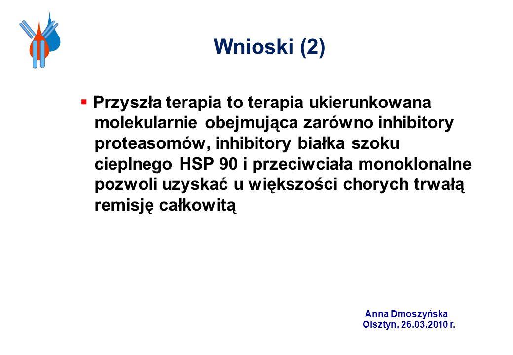 Wnioski (2) Przyszła terapia to terapia ukierunkowana molekularnie obejmująca zarówno inhibitory proteasomów, inhibitory białka szoku cieplnego HSP 90