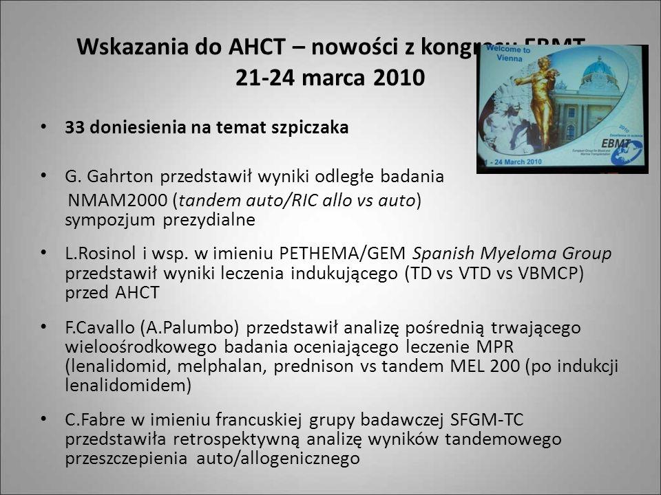 Wskazania do AHCT – nowości z kongresu EBMT 21-24 marca 2010 33 doniesienia na temat szpiczaka G. Gahrton przedstawił wyniki odległe badania NMAM2000