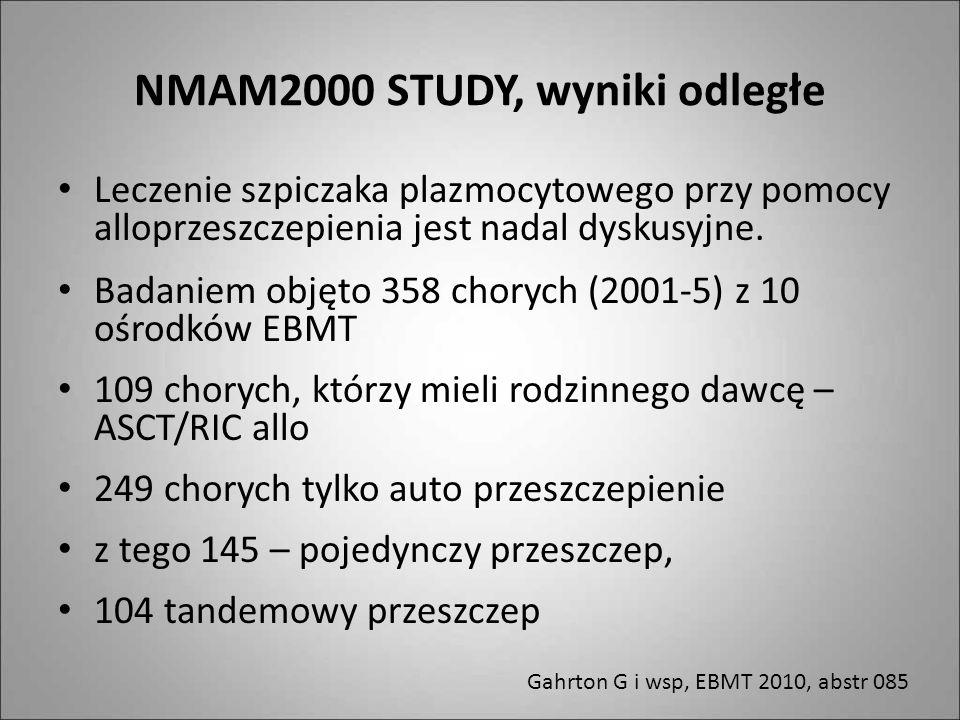 NMAM2000 STUDY, wyniki odległe Leczenie szpiczaka plazmocytowego przy pomocy alloprzeszczepienia jest nadal dyskusyjne. Badaniem objęto 358 chorych (2