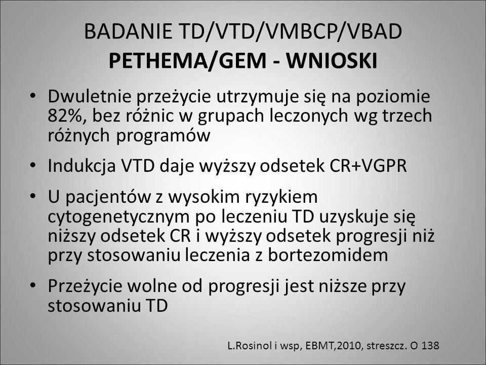 BADANIE TD/VTD/VMBCP/VBAD PETHEMA/GEM - WNIOSKI Dwuletnie przeżycie utrzymuje się na poziomie 82%, bez różnic w grupach leczonych wg trzech różnych pr