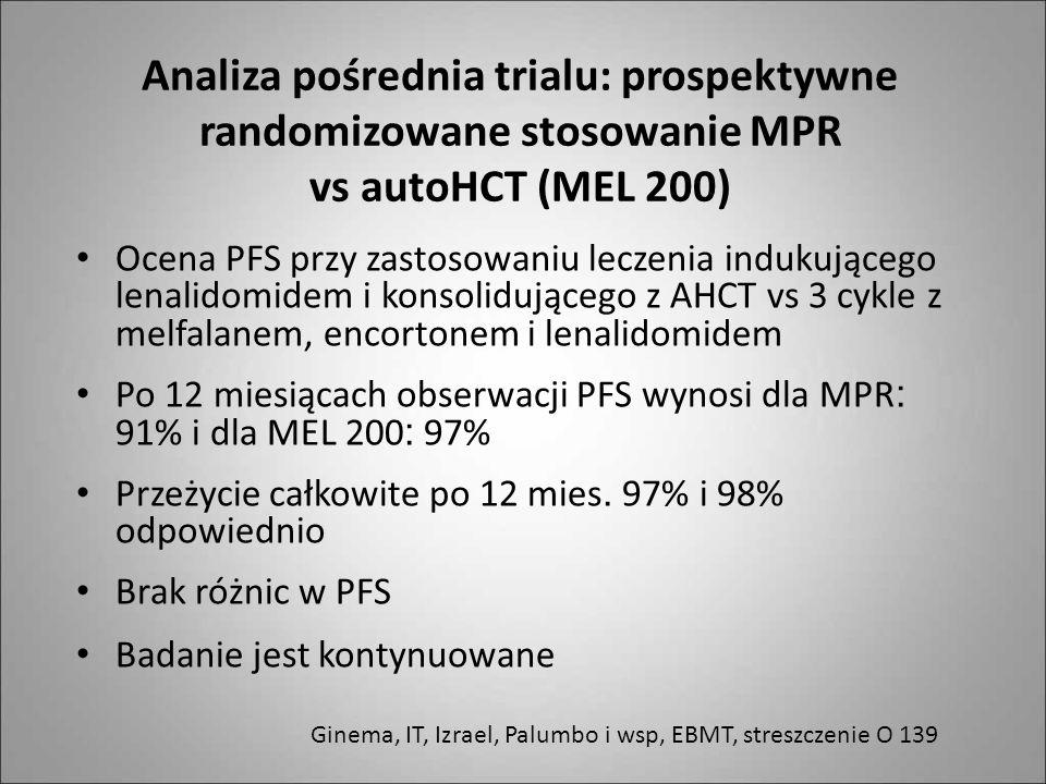 Analiza pośrednia trialu: prospektywne randomizowane stosowanie MPR vs autoHCT (MEL 200) Ocena PFS przy zastosowaniu leczenia indukującego lenalidomid