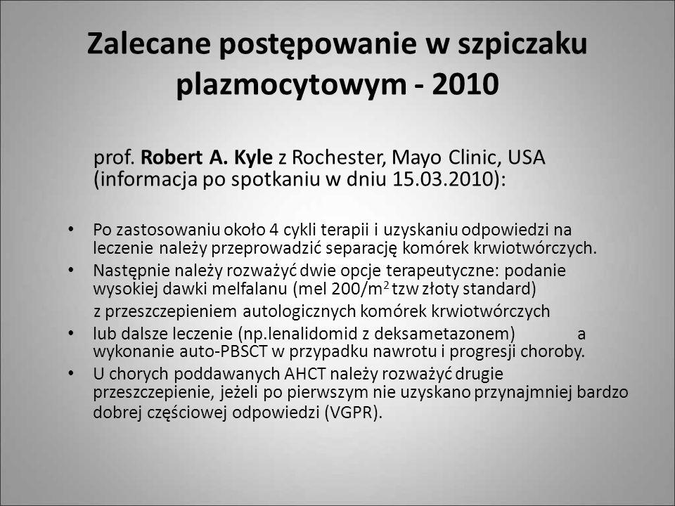 Zalecane postępowanie w szpiczaku plazmocytowym - 2010 prof. Robert A. Kyle z Rochester, Mayo Clinic, USA (informacja po spotkaniu w dniu 15.03.2010):