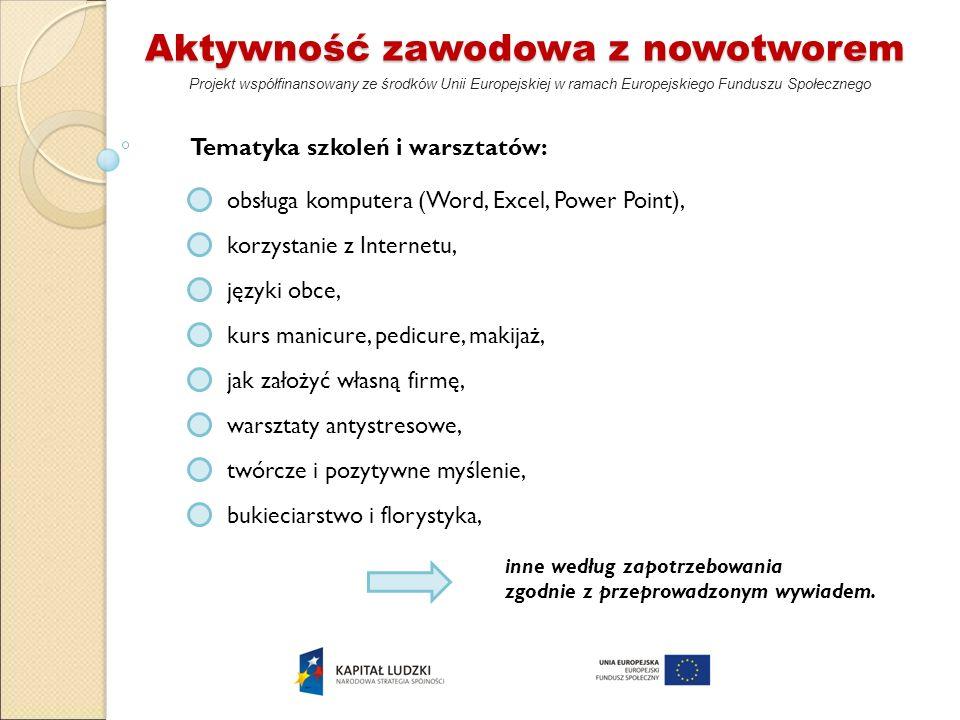 Aktywność zawodowa z nowotworem Projekt współfinansowany ze środków Unii Europejskiej w ramach Europejskiego Funduszu Społecznego Tematyka szkoleń i w