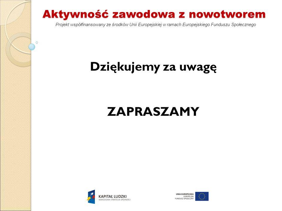 Aktywność zawodowa z nowotworem Projekt współfinansowany ze środków Unii Europejskiej w ramach Europejskiego Funduszu Społecznego Dziękujemy za uwagę