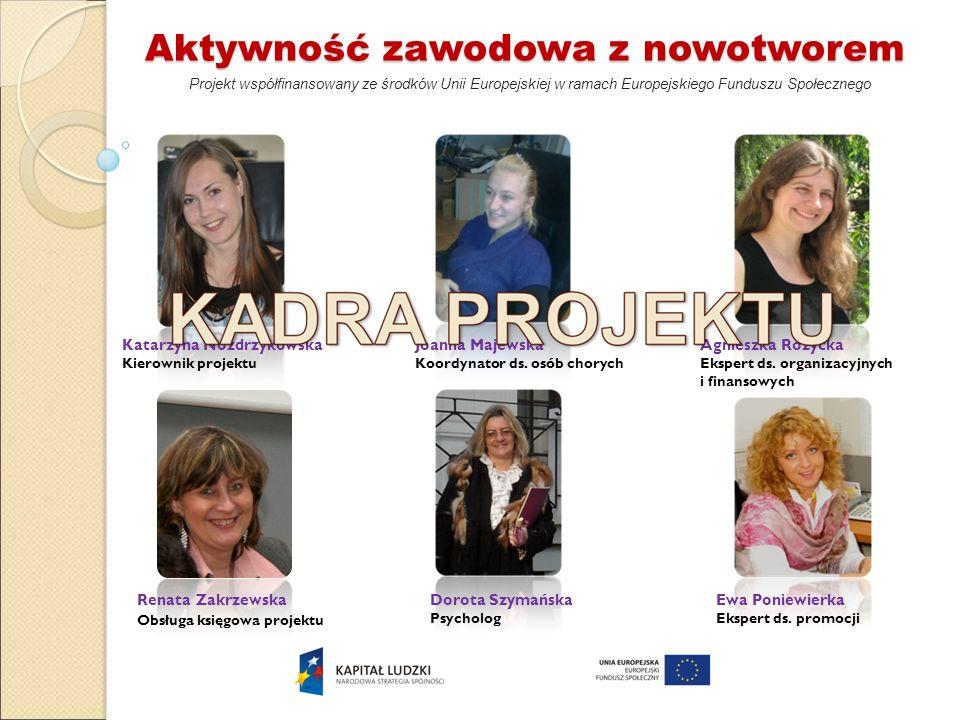 Renata Zakrzewska Obsługa księgowa projektu Aktywność zawodowa z nowotworem Projekt współfinansowany ze środków Unii Europejskiej w ramach Europejskie