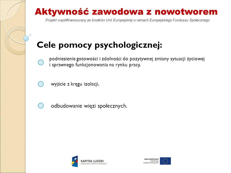 Aktywność zawodowa z nowotworem Projekt współfinansowany ze środków Unii Europejskiej w ramach Europejskiego Funduszu Społecznego Cele pomocy psycholo