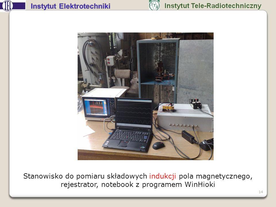 Stanowisko do pomiaru składowych indukcji pola magnetycznego, rejestrator, notebook z programem WinHioki 14