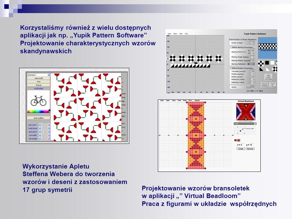 Korzystaliśmy również z wielu dostępnych aplikacji jak np. Yupik Pattern Software Projektowanie charakterystycznych wzorów skandynawskich Projektowani