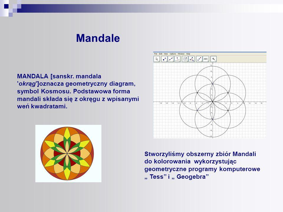 Stworzyliśmy obszerny zbiór Mandali do kolorowania wykorzystując geometryczne programy komputerowe Tess i Geogebra Mandale MANDALA [sanskr. mandala 'o