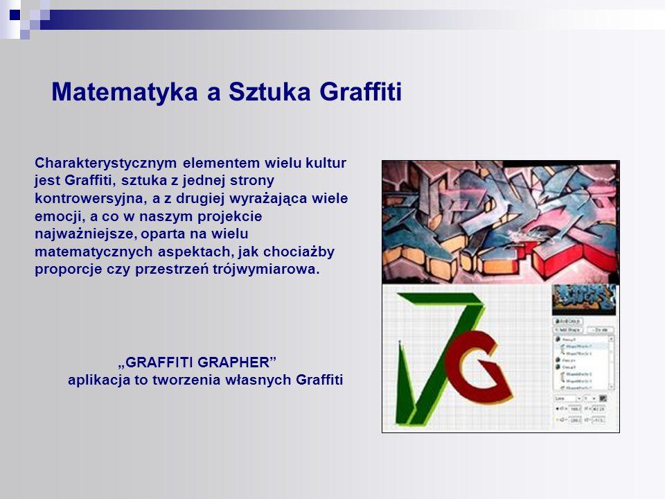 Matematyka a Sztuka Graffiti GRAFFITI GRAPHER aplikacja to tworzenia własnych Graffiti Charakterystycznym elementem wielu kultur jest Graffiti, sztuka