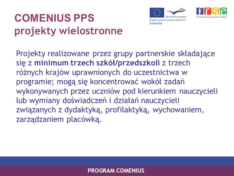 COMENIUS PPS projekty dwustronne Projekty realizowane przez dwie szkoły z dwóch różnych krajów uprawnionych do uczestnictwa w programie: w harmonogramie działań muszą zawierać co najmniej dwie 10-dniowe wizyty grup uczniowskich nie mniejszych niż 10-osobowe, w obu partnerskich szkołach.