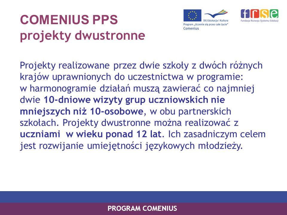 COMENIUS PPS projekty dwustronne Projekty realizowane przez dwie szkoły z dwóch różnych krajów uprawnionych do uczestnictwa w programie: w harmonogram