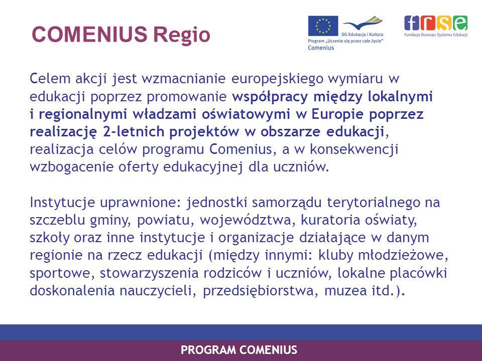 COMENIUS R egio Celem akcji jest wzmacnianie europejskiego wymiaru w edukacji poprzez promowanie współpracy między lokalnymi i regionalnymi władzami o