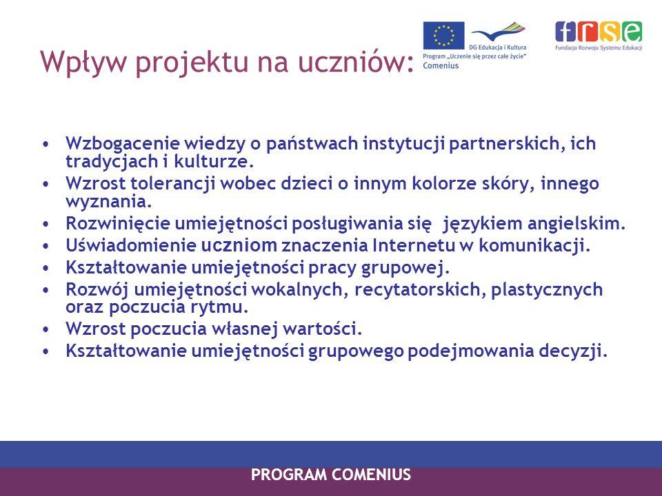 Wpływ projektu na uczniów: Wzbogacenie wiedzy o państwach instytucji partnerskich, ich tradycjach i kulturze. Wzrost tolerancji wobec dzieci o innym k