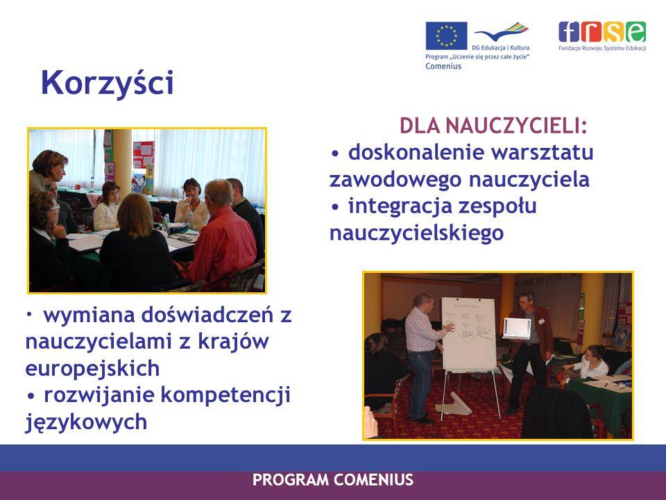 K orzyści wymiana doświadczeń z nauczycielami z krajów europejskich rozwijanie kompetencji językowych DLA NAUCZYCIELI: doskonalenie warsztatu zawodowe