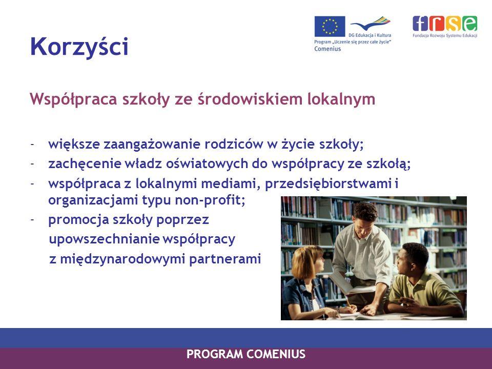 K orzyści Współpraca szkoły ze środowiskiem lokalnym -większe zaangażowanie rodziców w życie szkoły; -zachęcenie władz oświatowych do współpracy ze sz