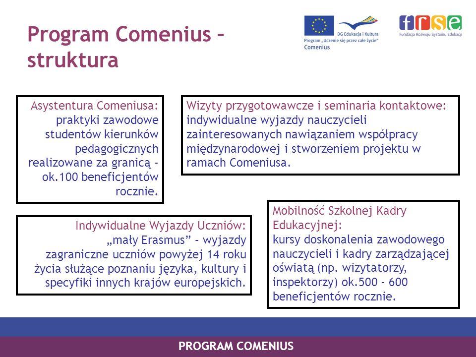 Program Comenius – struktura PROGRAM COMENIUS Asystentura Comeniusa: praktyki zawodowe studentów kierunków pedagogicznych realizowane za granicą – ok.