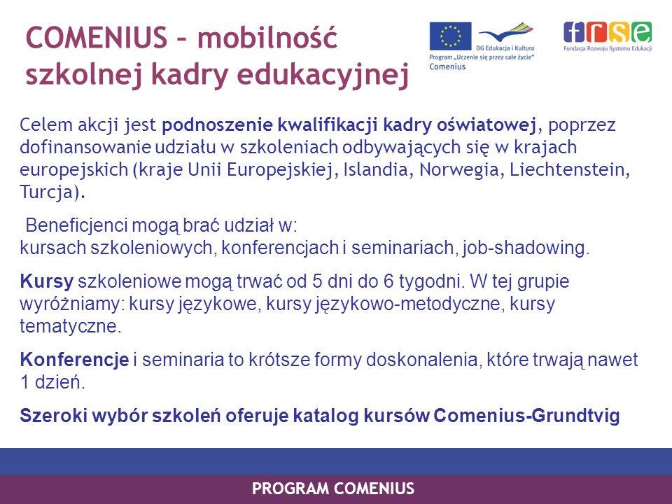 COMENIUS Asystentura Akcja skierowana jest do studentów kierunków nauczycielskich oraz do szkół/przedszkoli, które chciałyby gościć asystenta; Rola asystenta: nauczanie języka obcego nauczanie innego przedmiotu pomaganie w przygotowaniu i realizacji Partnerskich Projektów Szkół Comeniusa wzbogacanie programu nauczania o elementy wiedzy o Unii Europejskiej pomaganie uczniom niepełnosprawnym oraz uczniom mającym trudności w nauce promowanie informacji o swym kraju ojczystym przygotowywanie materiałów dydaktycznych Szkoła goszcząca wyznacza dla asystenta opiekuna, w pełni wykwalifikowanego nauczyciela, który nadzoruje pracę asystenta, sprawuje nad nim opiekę, monitoruje jego postępy i działa jako osoba kontaktowa przez cały okres asystentury.
