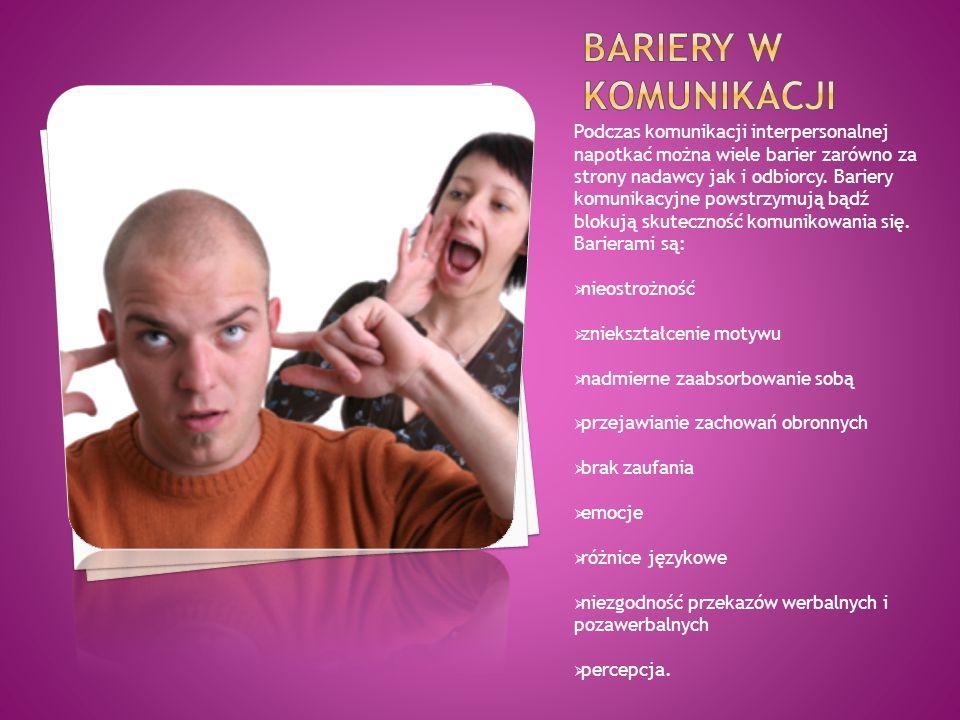 Podczas komunikacji interpersonalnej napotkać można wiele barier zarówno za strony nadawcy jak i odbiorcy. Bariery komunikacyjne powstrzymują bądź blo