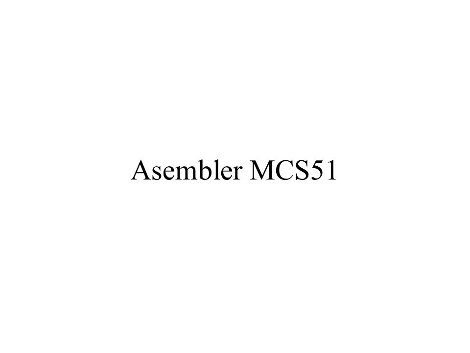 Asembler MCS51