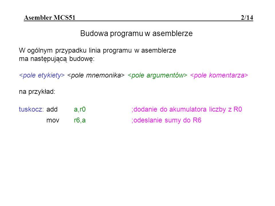 Asembler MCS51 - dyrektywy 13/14